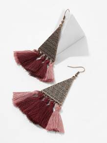 Engraved Triangle Tassel Drop Earrings 1pair