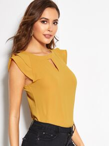 Solid Cut Out Keyhole Back Blouse