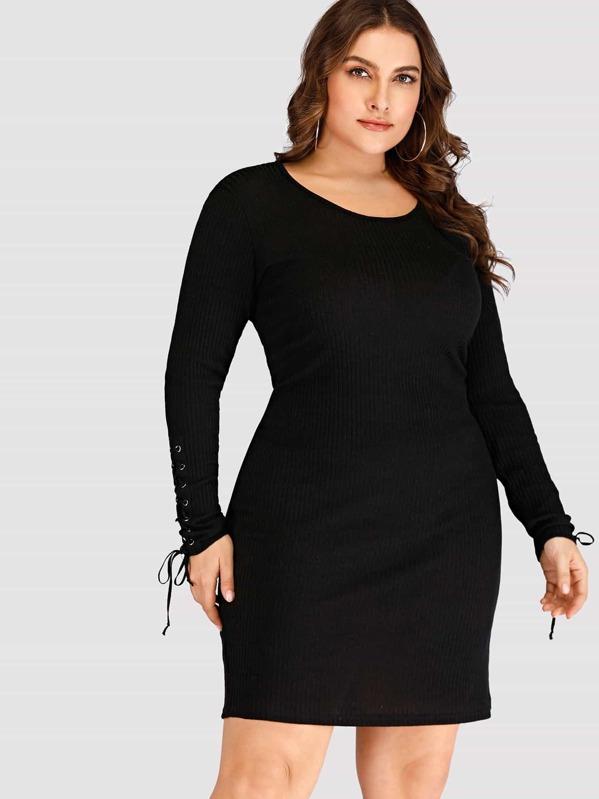 012075f2051 Plus Grommet Lace-up Sweater Dress