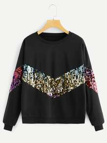 Contrast Sequin Drop Shoulder Sweatshirt