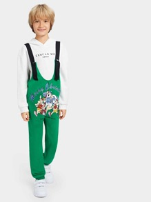 Boys Cartoon & Letter Print Jumpsuit