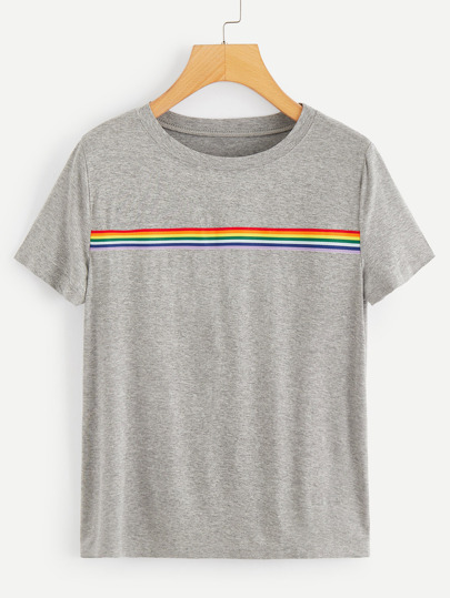 1Plus1 Girls Rainbow Striped Tee
