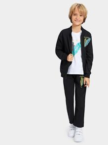Toddler Boys Leaf Embroidered Tee & Jacket & Pants