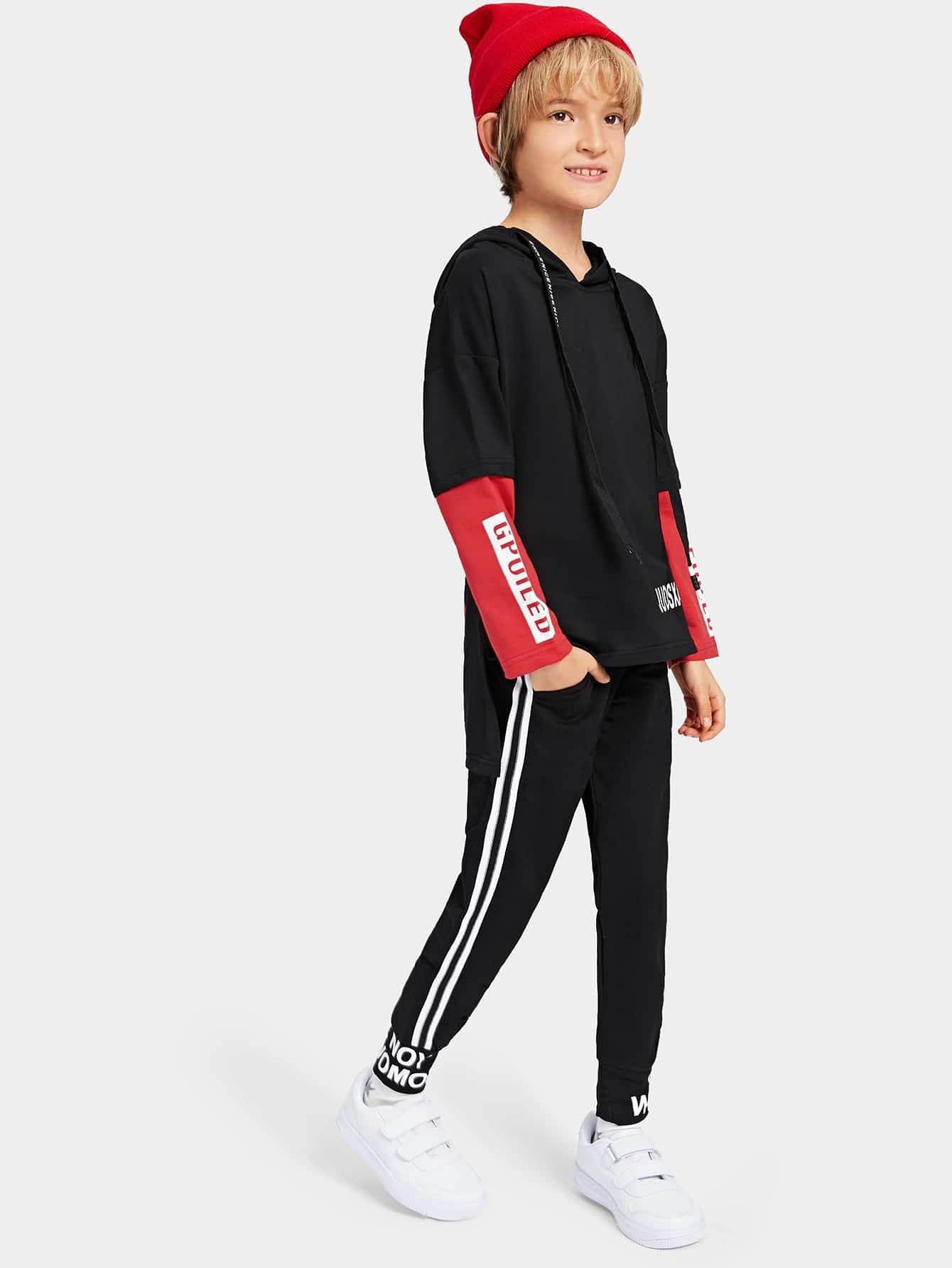 Toddler Boys Color Block Sleeve Letter Print Hoodie With Pants Toddler Boys Color Block Sleeve Letter Print Hoodie With Pants