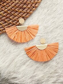 Dangling Half Circle Straw Fringe Earrings