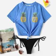 Pineapple Print Top With Tie Side Two Piece Swimwear