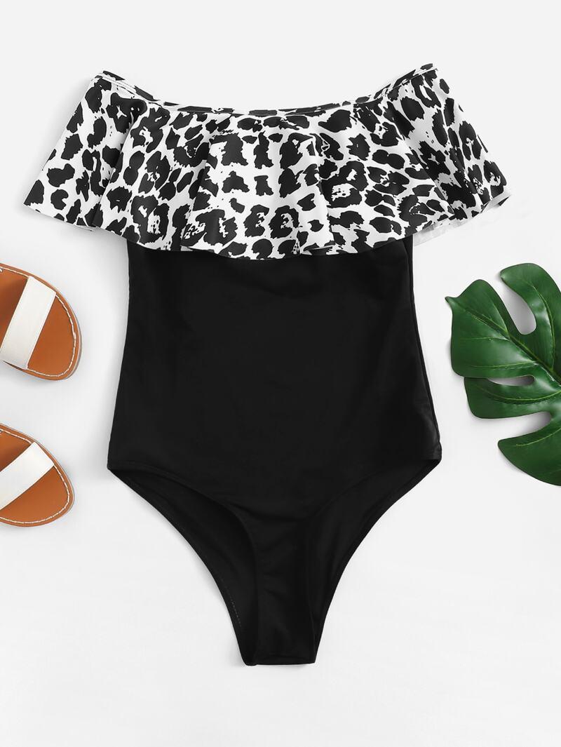 1968f48a7c4 Leopard Flounce Bardot One Piece Swimsuit