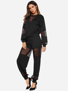 Contrast Fishnet Top With Pants