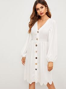 Button Through Scallop Hem Shirt Dress
