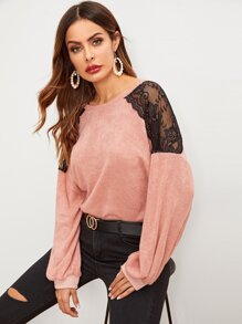 Contrast Mesh Drop Shoulder Sweater