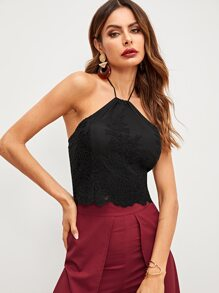 Lace Solid Halter Cami Top