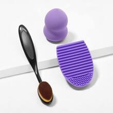 Puff Brush & Brush Cleaning Pad & Sponge 3pack