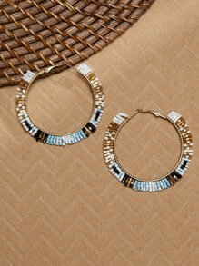 Bead Detail Gold Tone Large Hoop Earrings