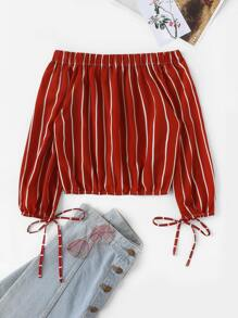 Striped Drawstring Hem Off The Shoulder Blouse