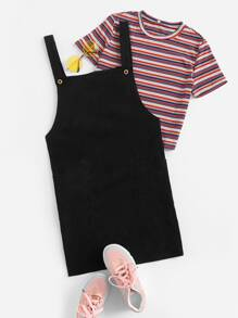 Solid Double Button Pinafore Dress