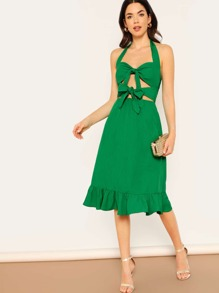 Knot Cut Out Front Ruffle Hem Halter Dress