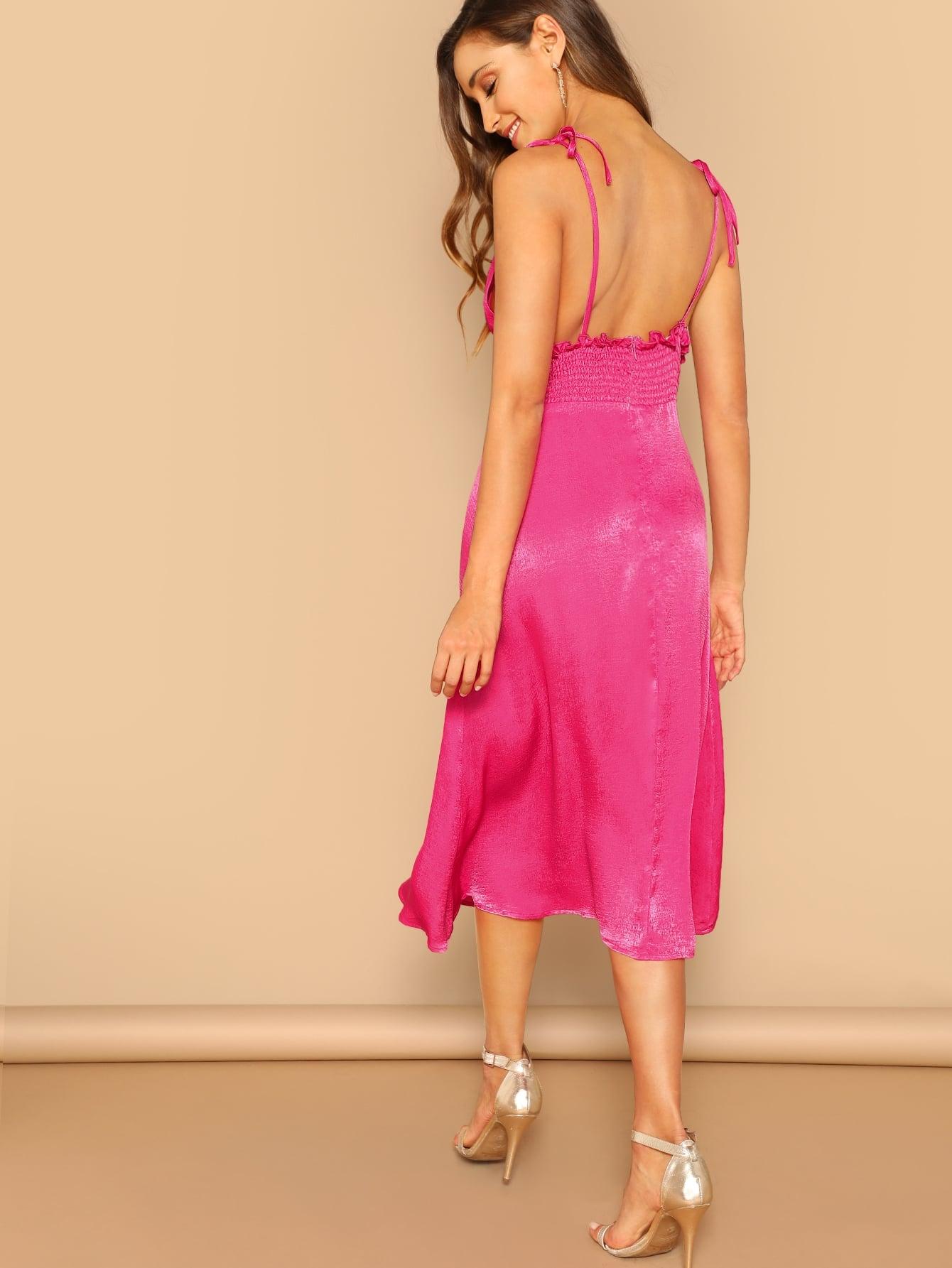 Rückenfreies Kleid mit Riemchen in Neon Pink   SHEIN