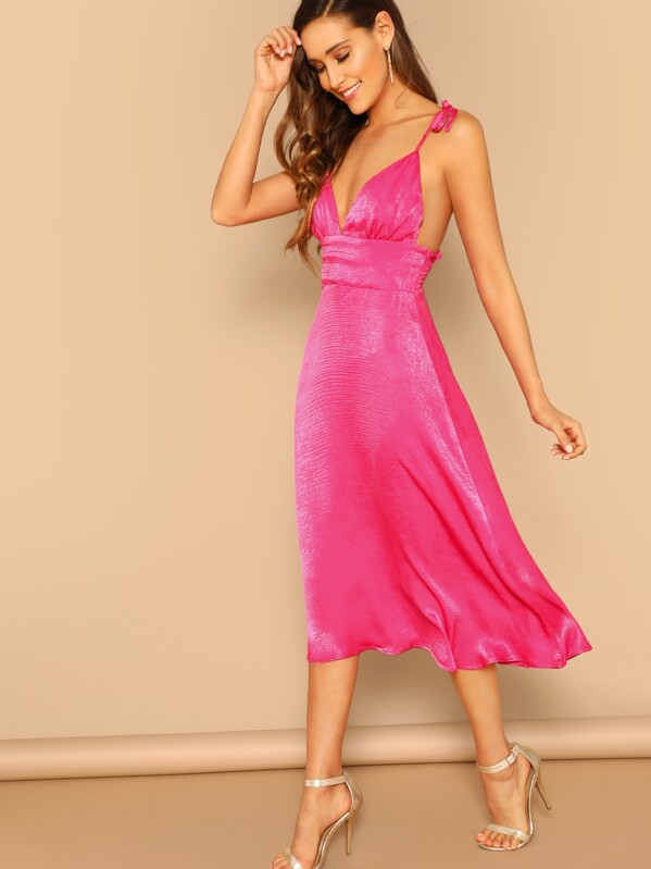 82e08727d0da Cheap Neon Pink Shirred Panel Backless Dress With Tie Strappy for ...