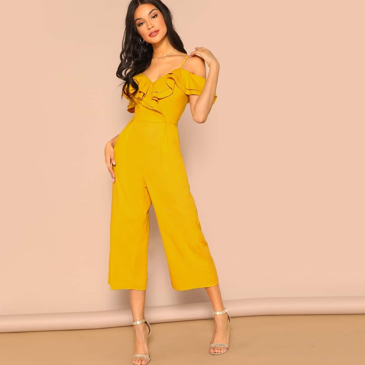 Cold Shoulder Layered Flounce Foldover Palazzo Jumpsuit