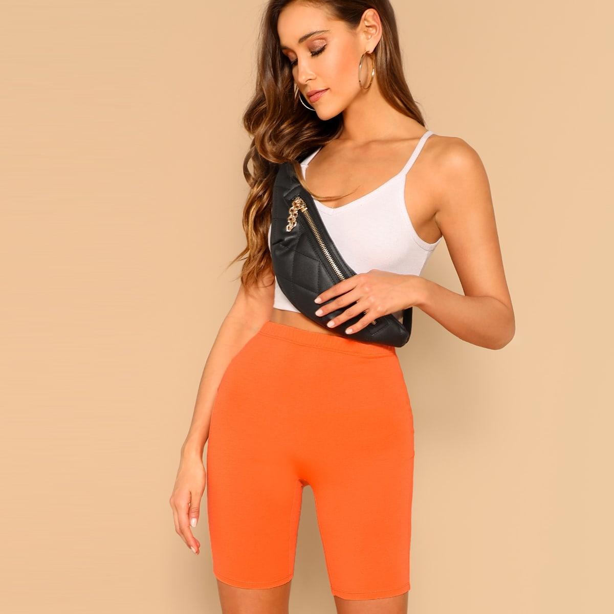 Неоновые Оранжевые Короткие Леггинсы