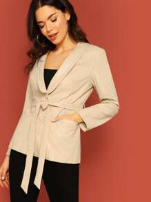 Faux Leather Shawl Collar Self Belted Blazer