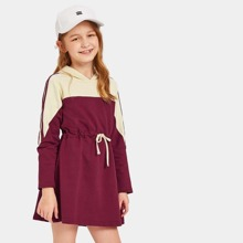 Image of Girls Cut And Sew Panel Drawstring Waist Hooded Dress