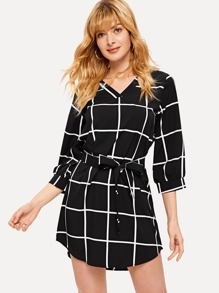 Self Tie Plaid Curved Hem Dress