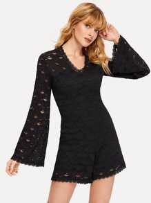 Lace Overlay Bell Sleeve Romper