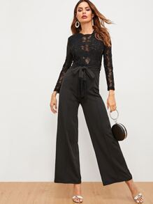 Zip Back Contrast Lace Self Tie Jumpsuit