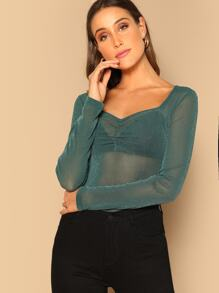 Ruched Front Sheer Glitter Tee