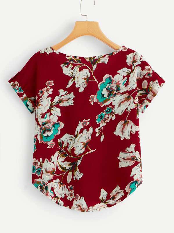 4a7dc8ea033 Roll Up Sleeve Curved Hem Floral Blouse