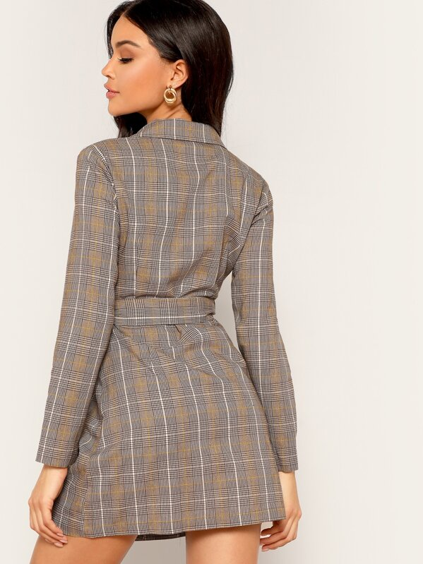 f1db0402365a9 Double Breasted Plaid Self Tie Blazer Dress | SHEIN IN