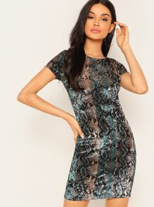 Form Fitting Snake Print Dress
