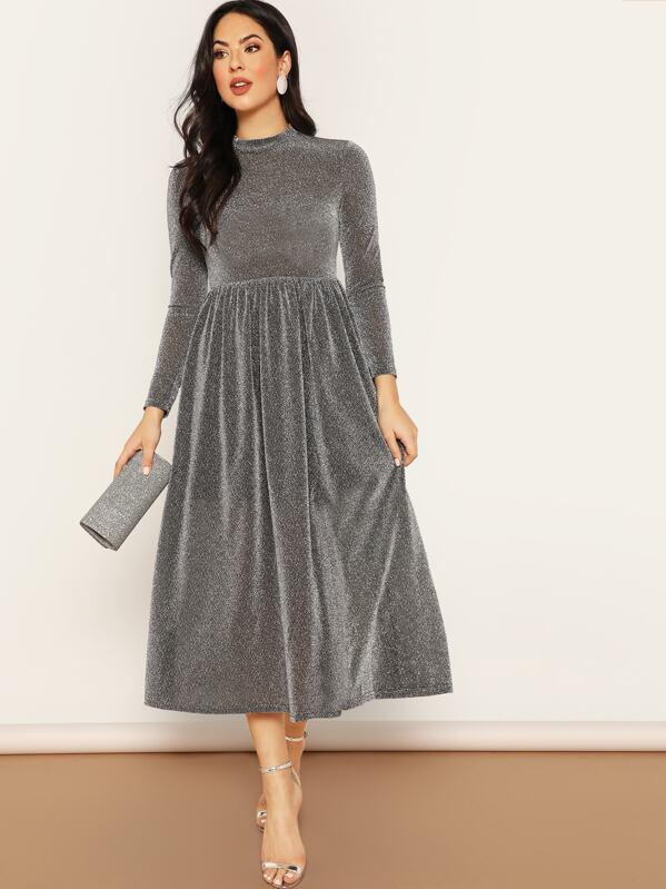 27c1ada6d9 Zip Back Mock-neck Glitter Flare Dress | SHEIN