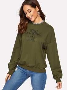 Drop Shoulder Frilled Neckline Letter Pullover