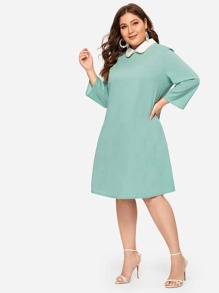 Plus Pearl Embellished Contrast Collar Dress