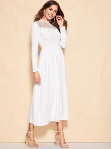 f720d8365b Lace Yoke Midi Dress | SHEIN