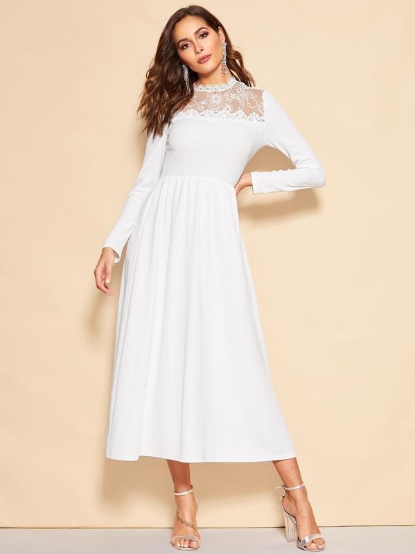 fe1551886a Lace Yoke Midi Dress   SHEIN