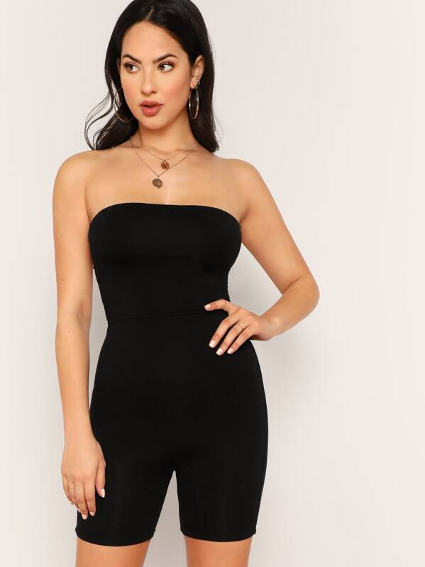 5b13492d02c7 Criss-cross Tied Back Solid Tube Jumpsuit