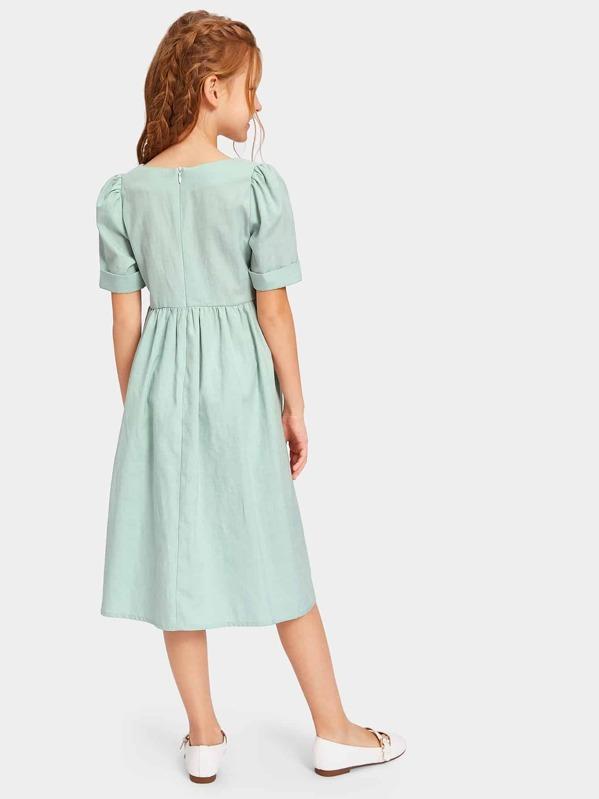 9f14f579 Girls Zip Back Pocket Front Square Neck Shirt Dress | SHEIN UK
