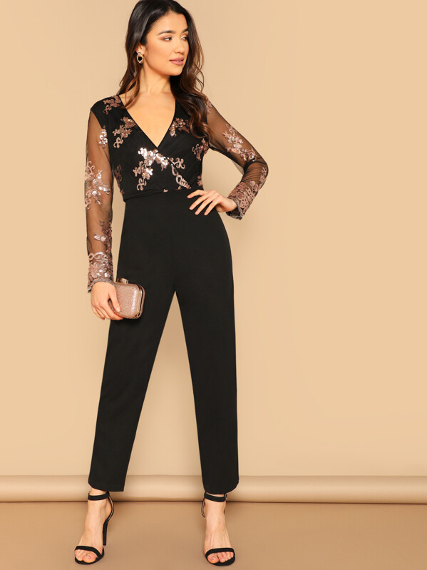 Mesh Sleeve Sequin Detail Wrap Front Jumpsuit by Shein