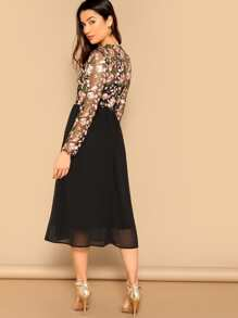 81903357c10a52 Floral Embroidered Mesh Top Combo Midi Dress