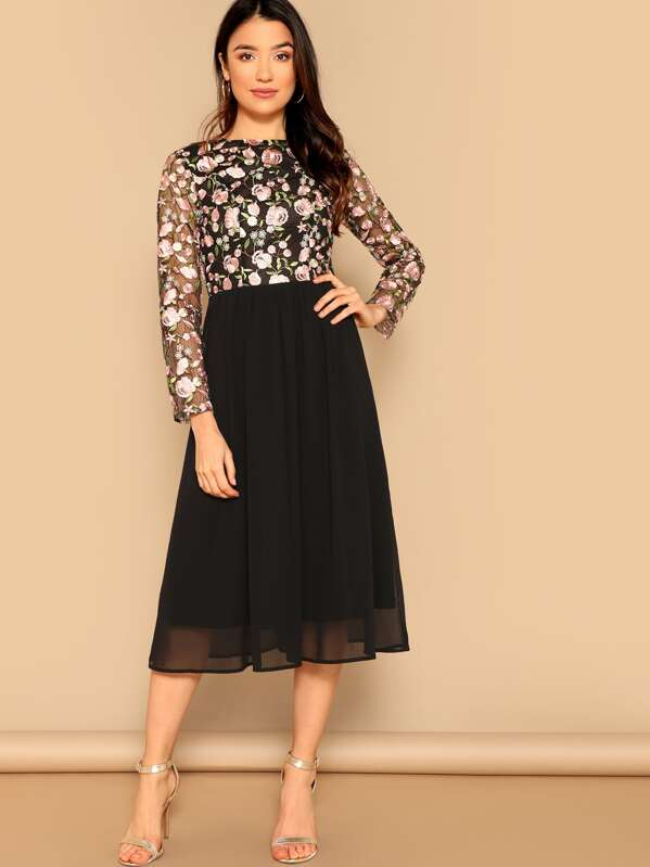 ff0d90f4633ce Floral Embroidered Mesh Top Combo Midi Dress