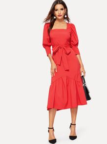 Ruffle Hem Puff Sleeve Belted Fit & Flare Dress