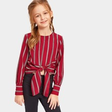 Girls Keyhole Back Striped Knotted Top