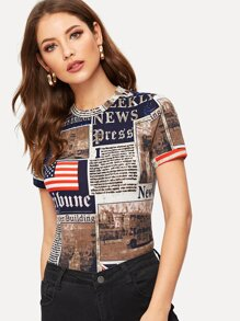 Newspaper Print Form Fitting Tee