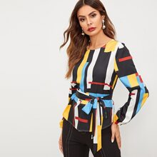 Image of Mixed Print Curved Hem Belted Top