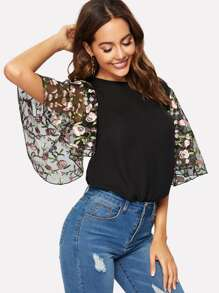 Floral Embroidery Flutter Sleeve Blouse