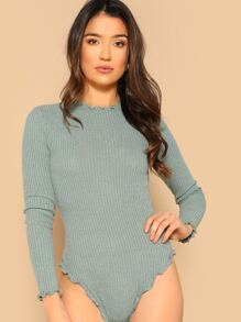 Lettuce Trim Rib-knit Bodysuit