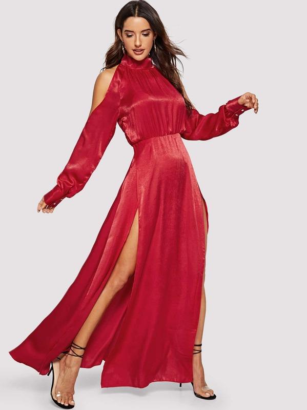 36ebf701a5458 Satin Open Shoulder M Slit Maxi Dress | SHEIN